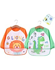 Babylaza Infant Toddler Baby Waterproof Sleeved Bib, Set of 2, Free Baby Towels (6-24 Months)