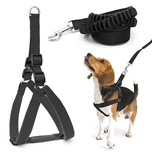 Poppypet Hundegeschirr mit Elastische Leine, Weich Angenehm Geschirr für Hunde, Gute Qualität Bungee Jogging leine, Luxus Hundeleinen Trainingsleine Hund Schwarz S
