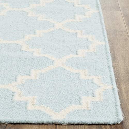 683726385219 - Safavieh Dhurries Collection DHU554B Hand Woven Light Blue and Ivory Premium Wool Area Rug (5' x 8') carousel main 1