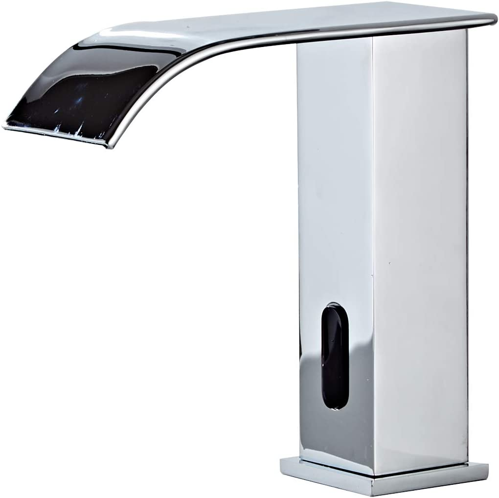 Automatic Touchless Bathroom Faucet Sensor Waterfall Bathroom Sink Faucet Electronic Motion Activated Hands-Free Vanity Faucet Dual Powered