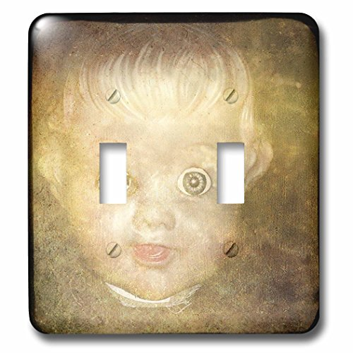 3dRose Cassie Peters Digital Art - Creepy Doll Head - Light Switch Covers - double toggle switch (lsp_262909_2)