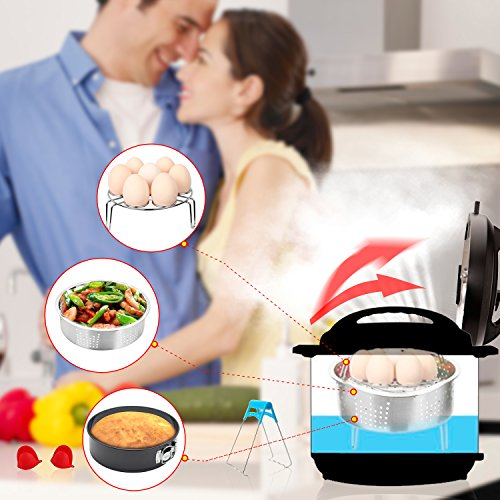 Instant Pot Accessories Set with Steamer Basket, Egg Steamer Rack, Non-stick Springform Pan, Steaming Stand, 1 Pair Silicone Cooking Pot Mitts 5 Piece by JOYORUN (Image #4)