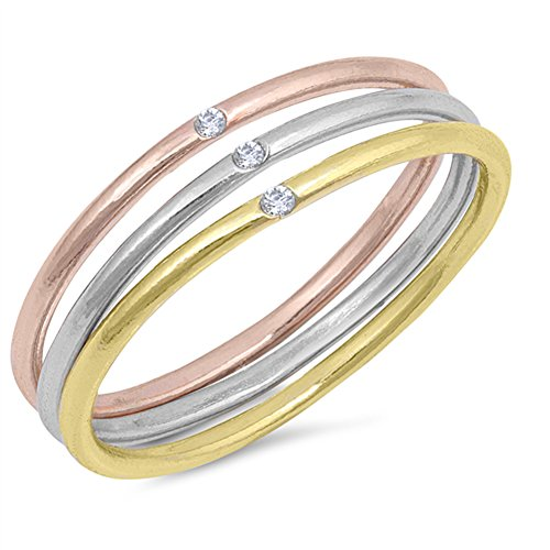 Mixed Metal Ring (Rose Gold-Tone Clear CZ Stackable Ring Set .925 Sterling Silver Band Size 9)