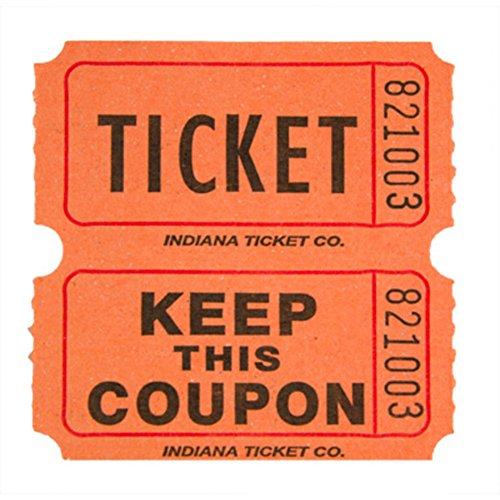 Raffle Tickets Orange 1000 per Roll 50/50 Fun Fair