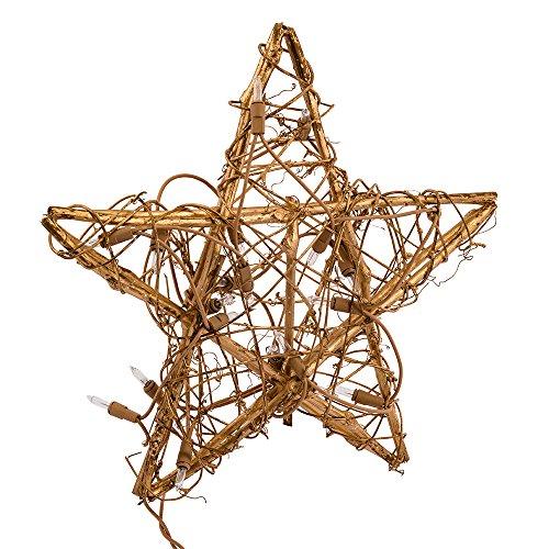 Kurt Adler 20-Light Gold Rattan Star (Christmas Tree Topper Tree Shop)