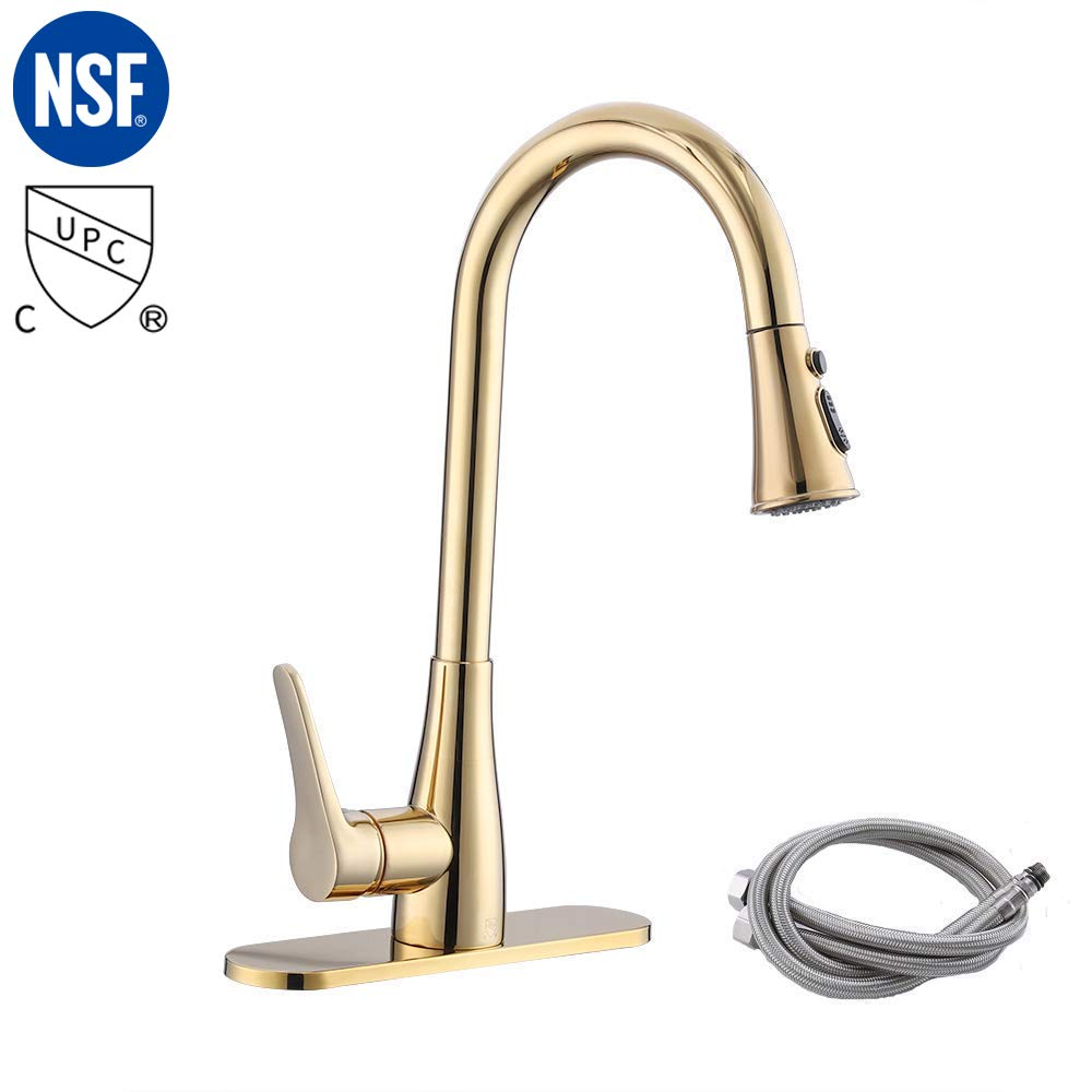 KES cUPC NSF Certified BRASS Singel Handle Pull Down Kitchen Faucet with Retractable Pull Out Wand, High Arc Swivel Spout, Titanium Gold, L6910LF-PG by KES