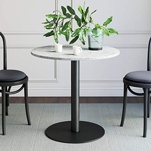Nathan James Lucy Small Mid-Century Modern Kitchen or Dining Table with Faux Carrara Marble Top and Brushed Metal Pedestal Base, White/Black