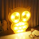 EA-STONE Light Owl Party Supplies Kids Colorful Lamp Battery Operated,Table Decorations for Wall Decoration,Kids' Room,Living Room,Bedroom (Yellow)