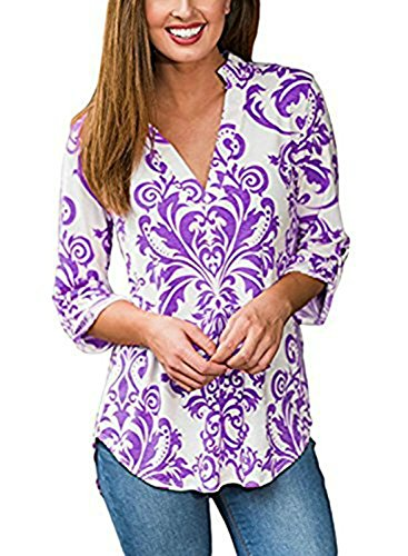 Sleeve 3/4 Tab (Artfish Womens Floral Printed Tunic Shirts 3/4 Roll Sleeve Notch Neck Tunic Top (Purple,L))