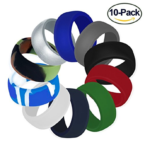 Silicone Wedding Ring, 10 Pack Premium Medical Grade Wedding Bands for Men Women Kids, Durable Comfortable Antibacterial Rubber Rings, Black White Blue Pink Sliver Gray, by Fynix