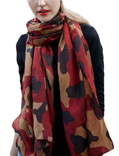 Ayli Women's Camouflage Scarf Long Shawl Lightweight Fashion Wrap, Red, wj2f005rd