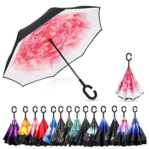 Lotus Umbrella - Elover Double Layer Inverted Umbrellas Reverse Umbrella with C-Shaped Handle Windproof UV Protection Reverse Umbrella for Car Rain Outdoor (Red Lotus)