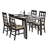 Cheap CorLiving DRG-795-Z6 Atwood Dining Set with Leatherette Seats (5 Piece), Taupe Stone