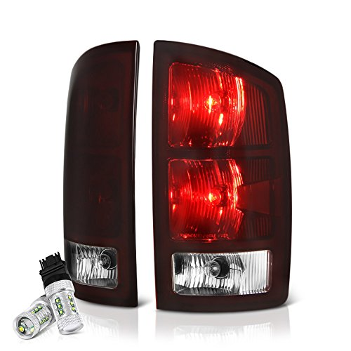 2500 Tail Light Lh Driver - VIPMOTOZ OE-Style Smoke Red Lens Tail Light Right Lamp Assembly w/Circuit Board For 2002-2006 Dodge RAM 1500 2500 3500 Pickup Truck - CREE LED Backup Bulbs Included, Driver & Passenger Side