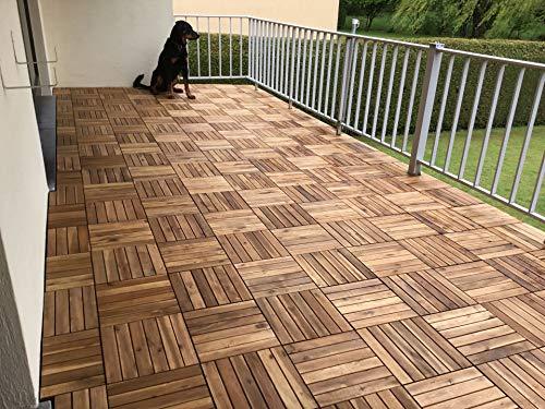 CLICK-DECK Le FAMOSE piastrelle Click-Deck per pavimentazione di esterni IN LEGNO MASSICCIO – Patio, Balcone, Terrazza, Pavimentazione per vasca idromassaggio (24x piastrelle in legno massiccio)