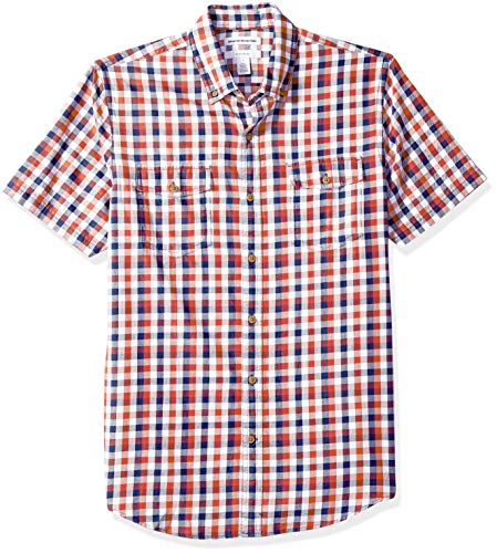 Amazon Essentials Men's Slim-Fit Short-Sleeve Two-Pocket Twill Shirt, navy/red check, X-Small
