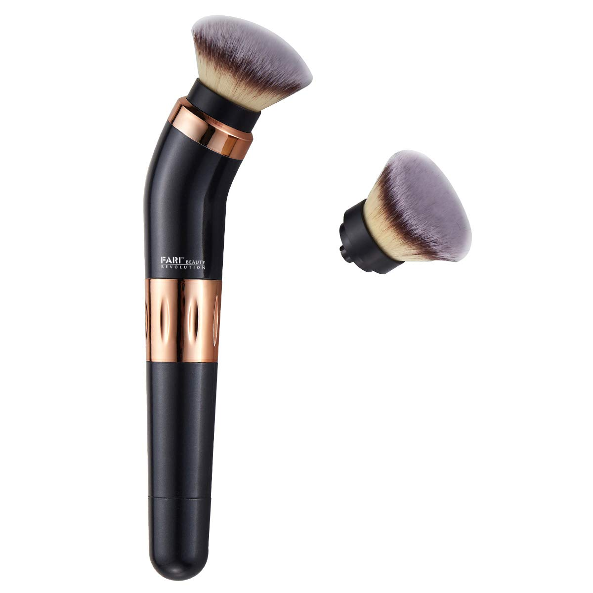 FARI Electric Rotating Makeup Brush, 360 Degree Rotary Cosmetic Brush with Premium Synthetic Foundation and Blush Heades, 2 Brush Heads Included