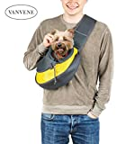 VANVENE PET Pet Sling Carrier - Teddy Small Dog Puppy Kitty Cat Sling Bag Safe Reversible Comfortable Machine Washable Adjustable Single Shoulder Carry Tote Handbag for Pets Under 6lb (Yellow)