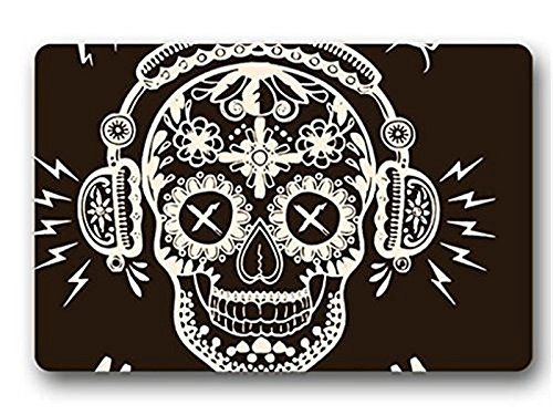 (Ashasds Cushion Funny Skull Flower Tatto Wear Earphone Loud Music Home Decorations Rug Rectangle Size 23.6x15.7,Multi-function Indoor Outdoor Beautiful Doormat)