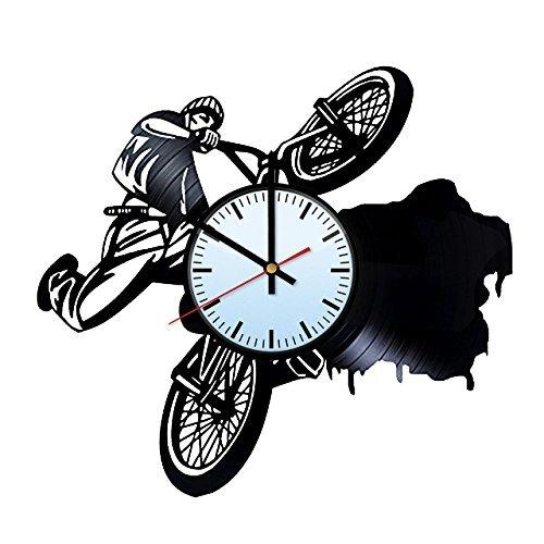 12' Boys Bmx Bike - Sunny Funny BMX Bike Riding Vinyl Record Wall Clock - Get unique of home room wall decor - Gift ideas for boys and men – Unique Art Design