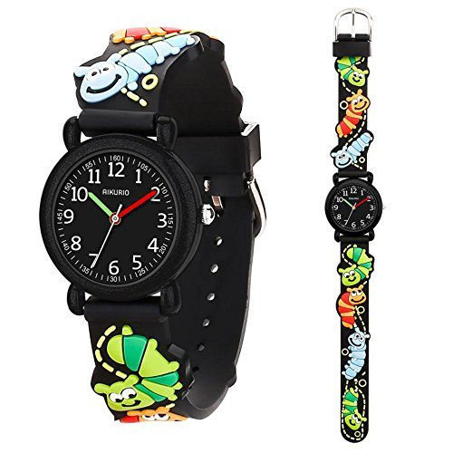 - Kid's Watch for Children Boys Girls Waterproof Quartz Watch with 3D Cute Cartoon Pattern Silicone Band