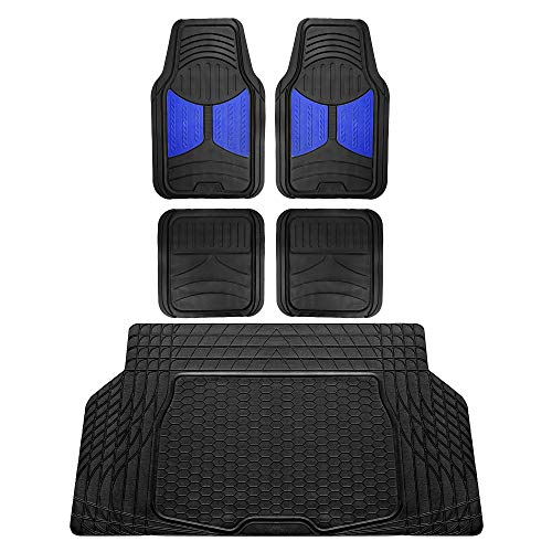 FH Group F11313 Monster Eye Full Set Rubber Floor Mats, Blue/Black Color w. F16403 Trimmable Vinyl Trunk Liner/Cargo Mat Black- Fit Most Car, Truck, SUV, or Van