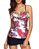 Yonique Women Two Piece Floral Printed Flounce Tankini with Pantyskirt