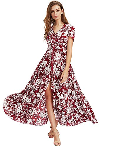 Milumia Women's Button Up Split Floral Print Flowy Party Maxi Dress A-Red and White X-Small