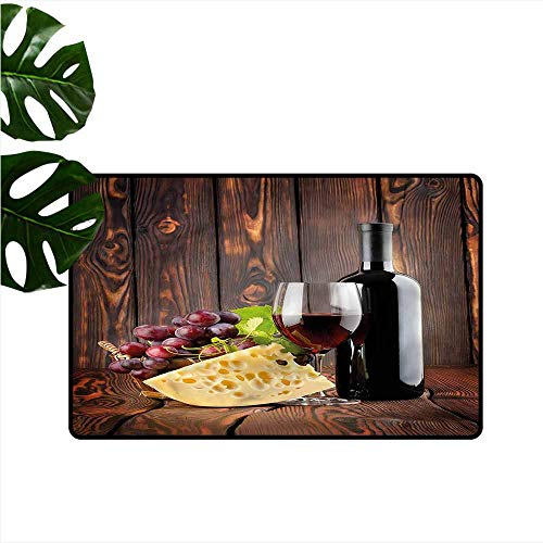 (DONEECKL Interior Door mat Wine Cabernet Bottle Cheese Easy to Clean Carpet W35 xL47)