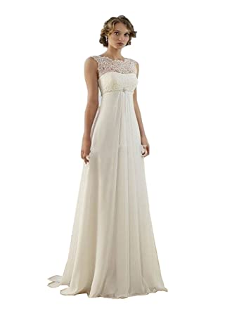 Scarlett New White / Ivory Chiffon Long Wedding Dress Bridal Gown at ...