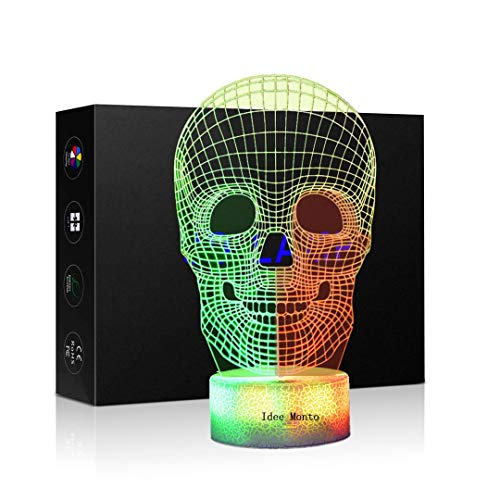 (3D Optical Illusion Night Light - 7 LED Color Changing Lamp - Cool Soft Light Safe for Kids - Home Décor Xmas Holiday Birthday Gifts - Skull (Skull))