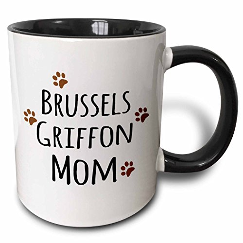 3dRose (mug_154086_4) Brussels Griffon Dog Mom - Doggie by breed - brown muddy paw prints love - doggy lover - pet owner - Two Tone Black Mug, 11oz