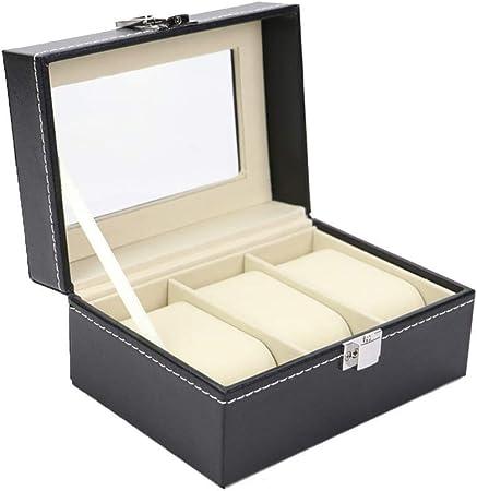 Inicio del reloj del almacenaje Display organizador de la caja 3 Caja de reloj de visualización organizador con compartimentos transparente cuero de la PU caja de reloj Holder ventana exhibición de la: