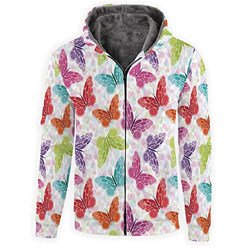 MOOCOM Men's-Butterflies-Full-Zip Hoodie ()