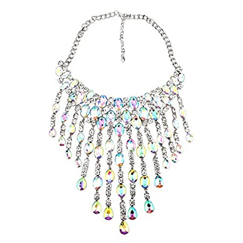 cheap Qiaose Luxury Shiny Crystal Pendant Choker Necklace Women Wedding Boho Statement Jewelry free shipping