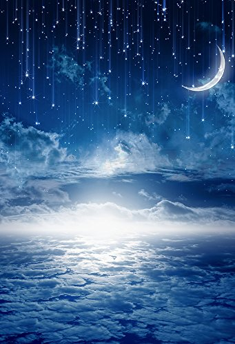 Laeacco Abstract Night Sky Fantasy Background 5X7FT Photography Background Blue Tone Meteor Shower Moon Stars Mysterious Clouds Newborn Baby Children Birthday Backdrop for Photo Studio Props - Kid Meteor Kids Light