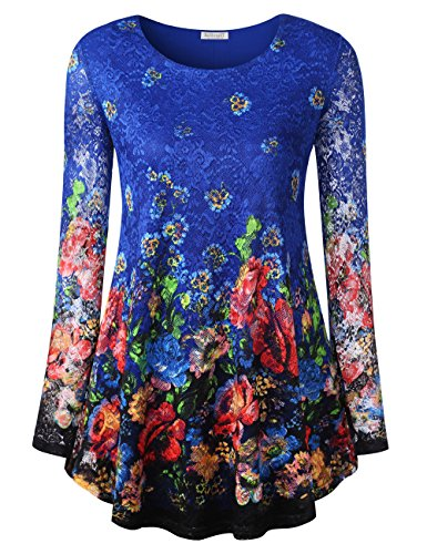 ong Sleeve Lace Floral Tops, Fall Spring Casaul Flowy Flower Pleated Hem Vintage Tee Shirt Tunic Blouse Top XL Blue Floral 3 ()