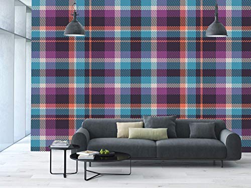 Funky Wall Mural Sticker [ Checkered,Celtic Tartan Irish Culture Scotland Country Antique Tradition Tile Decorative,Violet Light Blue Salmon ] Self-adhesive Vinyl Wallpaper / Removable Modern Decorati