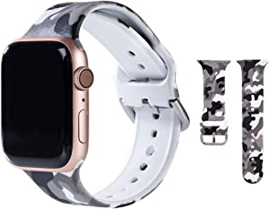 Hi-Yoohere Elegent Bands Compatible for Apple Watach 38mm 40mm, Character Stylish Gray Camouflage Print Slim Soft TPU Wristband Strap for Girls Women iWatch SE & Series 6/5/4/3/2/1