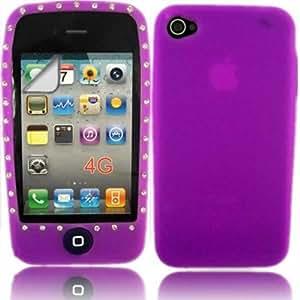 Diamante Silicona Concha Caso Cubrir Y Protector De Pantalla Para Apple iPhone 4 4G HD / Purple Design