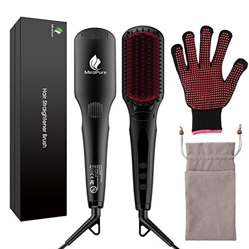 MiroPure 2 in 1 Ionic Hair Straightener Brush with Heat Resistant Glove and Temperature Lock Function (Hair Straightener For Salon)