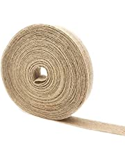 LANSCOERY 3 Rolls 50 Yards Natural Jute Burlap Fabric Ribbon, 4/5 Inch Width Craft Ribbon for Gift Wrapping, Wedding Events, DIY Crafts and Home Decor