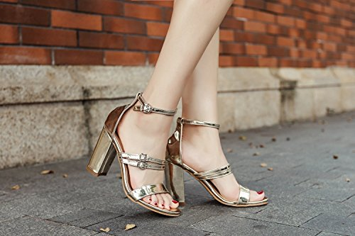 Club Block Heel Buckle Sandals Summer Shoes Evening up Leather Wedding Shoes B Patent Light Shoes Spring Women for Party gXxOnHP7wq