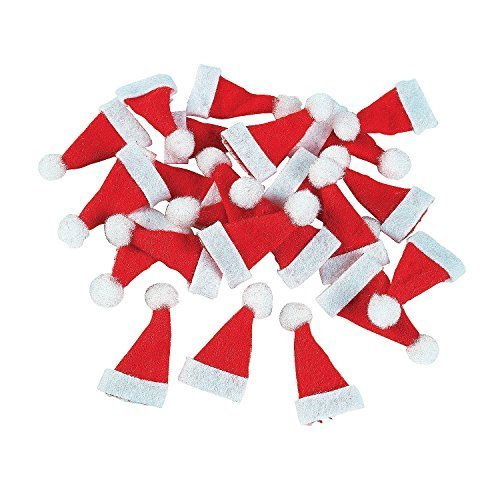 [Lot of 24 Mini 1`` Red Santa Hats Christmas Doll Crafts by Fun Express NEW ##ccgroupshop] (Christmas Santa Hats)