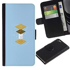 KLONGSHOP // Tirón de la caja Cartera de cuero con ranuras para tarjetas - Cookies Divertido Construcción - Apple Iphone 5 / 5S //
