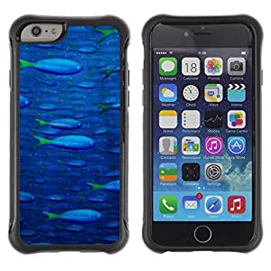 All-Round híbrido Heavy Duty de goma duro caso cubierta protectora Accesorio Generación-II BY RAYDREAMMM - Apple iPhone 6 - Fish Ocean Blue Sea Wildlife Swim Art Painting