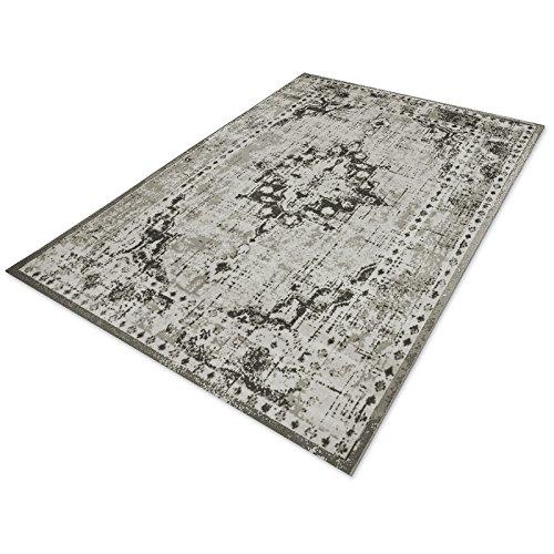 casa pura® Vintage Teppich | viele Größen | im angesagten Shabby Chic Look | für Wohnzimmer, Schlafzimmer, Flur etc. | grau (200x290 cm)