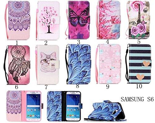 Para Smartphone Samsung Galaxy S6Funda Flip Cover Funda Piel [Tarjetero] funda piel cartera Executive Diseño + Polvo Conector beige 7 8