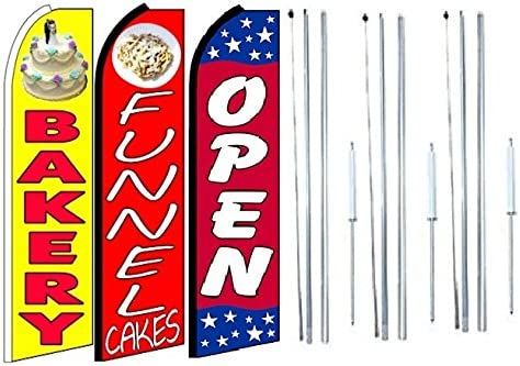 Pack of 3 Bakery Funnel Cakes Open King Swooper Feather Flag Sign Kit with Complete Hybrid Pole Set