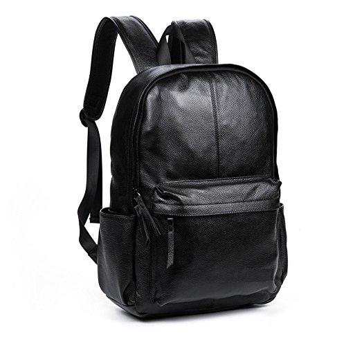 Mefly Los hombres de cuero auténtico hombre de gran capacidad de Mochila bolsas de viaje de alta calidad para el hombre de negocios de moda bolsa bolsa para portátil de ocio,hombre negro mochila black man backpack